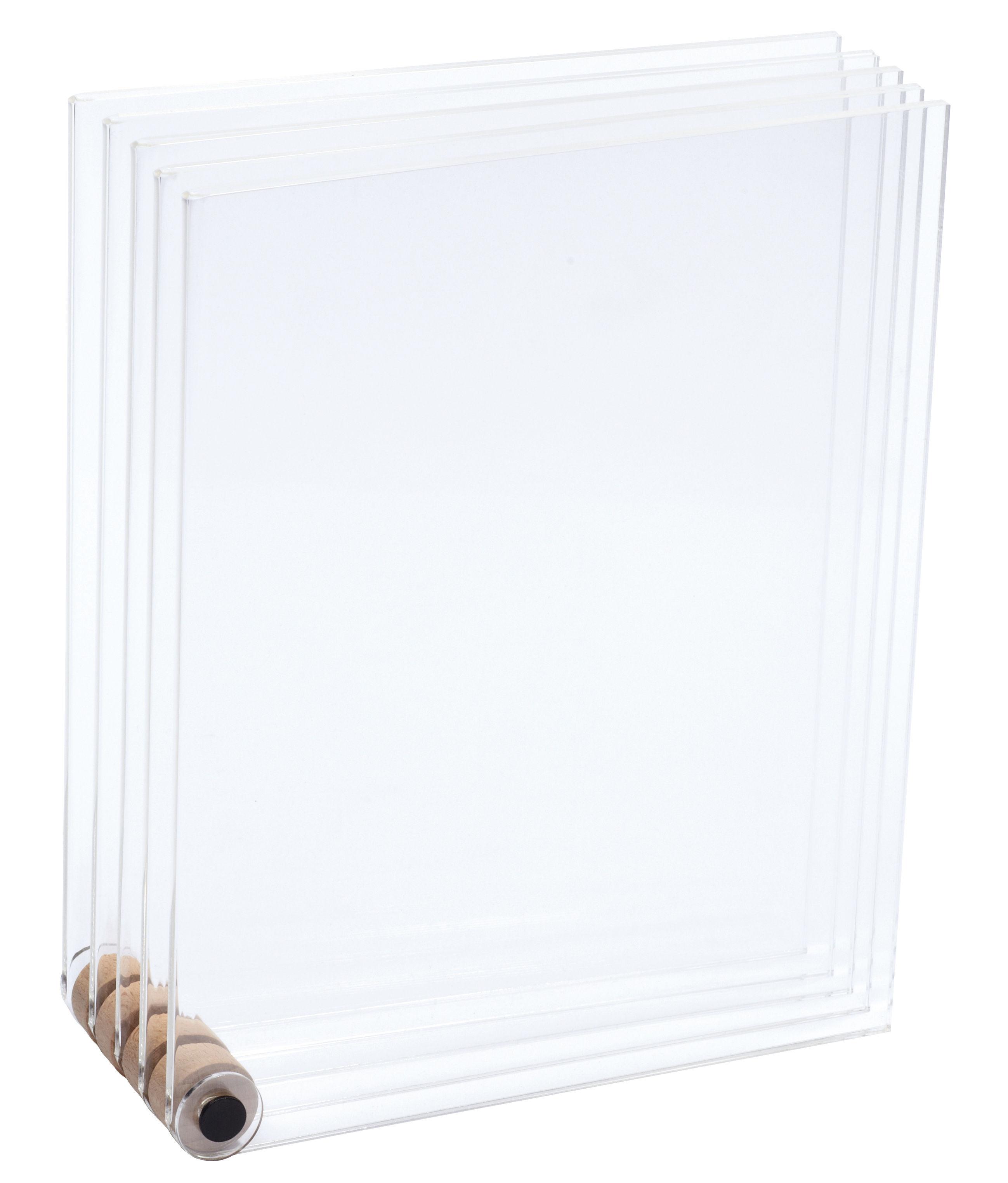 Déco - Objets déco et cadres-photos - Cadre-photo Porte-dessins / 5 cadres transparents - L'atelier d'exercices - Transparent - Acier, Acrylique, Hêtre massif