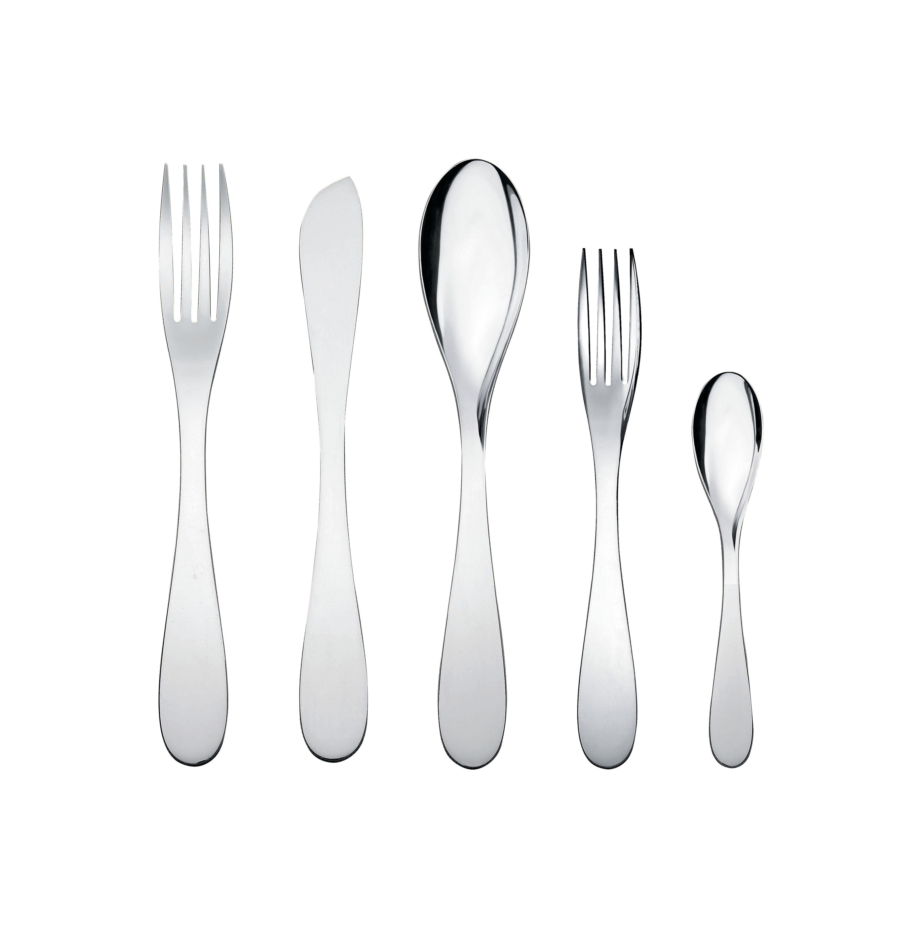 Tableware - Cutlery - Eat.it Cutlery set - 1 person / 5 pieces by Alessi - Polished metal - Stainless steel 18/10
