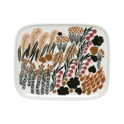 Tableware - Plates - Letto Dessert plate - / 12 x 15 cm by Marimekko - Letto / White, green & black - Sandstone