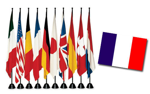 Dekoration - Spaßig und ausgefallen - Servobandiera Fahne - Zanotta - Mit französischer Flagge - gefirnister Stahl, Gewebe