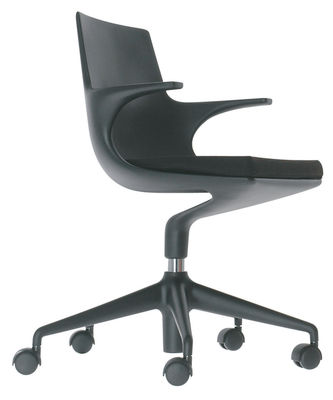 Mobilier - Mobilier Ados - Fauteuil à roulettes Spoon Chair / Rembourré - Kartell - Noir/ coussin noir - Polypropylène