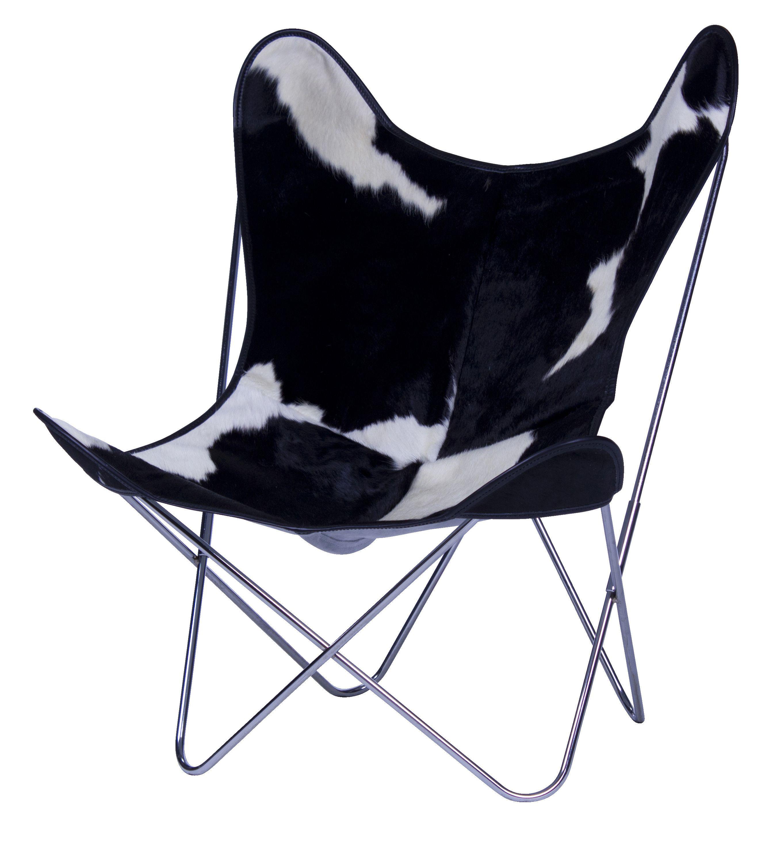 Mobilier - Fauteuils - Fauteuil AA Butterfly / Peau de vache - AA-New Design - Noir & blanc / Structure chromée - Acier chromé, Peau