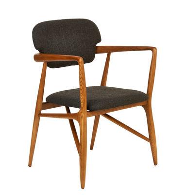 Caracas Gepolsterter Sessel / Stoff & Holz - Pols Potten - Dunkelgrau,Holz natur