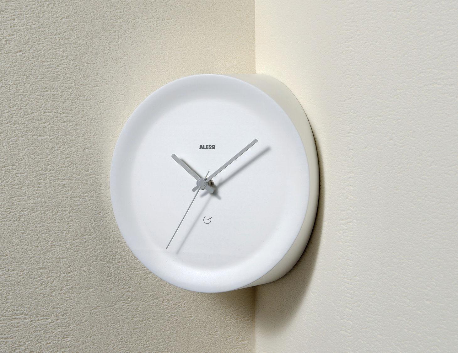 Déco - Horloges  - Horloge murale Ora In d'angle / Ø 21 x H 13 cm - Alessi - Blanc / Aiguilles grises - Résine thermoplastique
