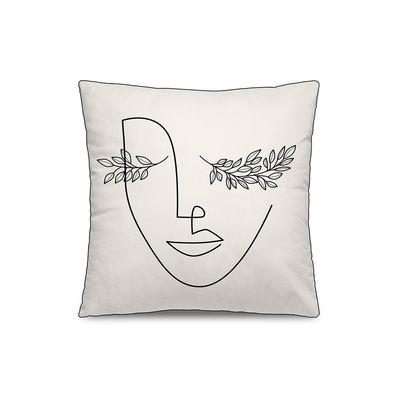 Dekoration - Kissen - Dénia Kissen / 45 x 45 cm - Velours - PÔDEVACHE - Gesicht und Blätter / Weiß & schwarz - Polyesterfaser, Velours