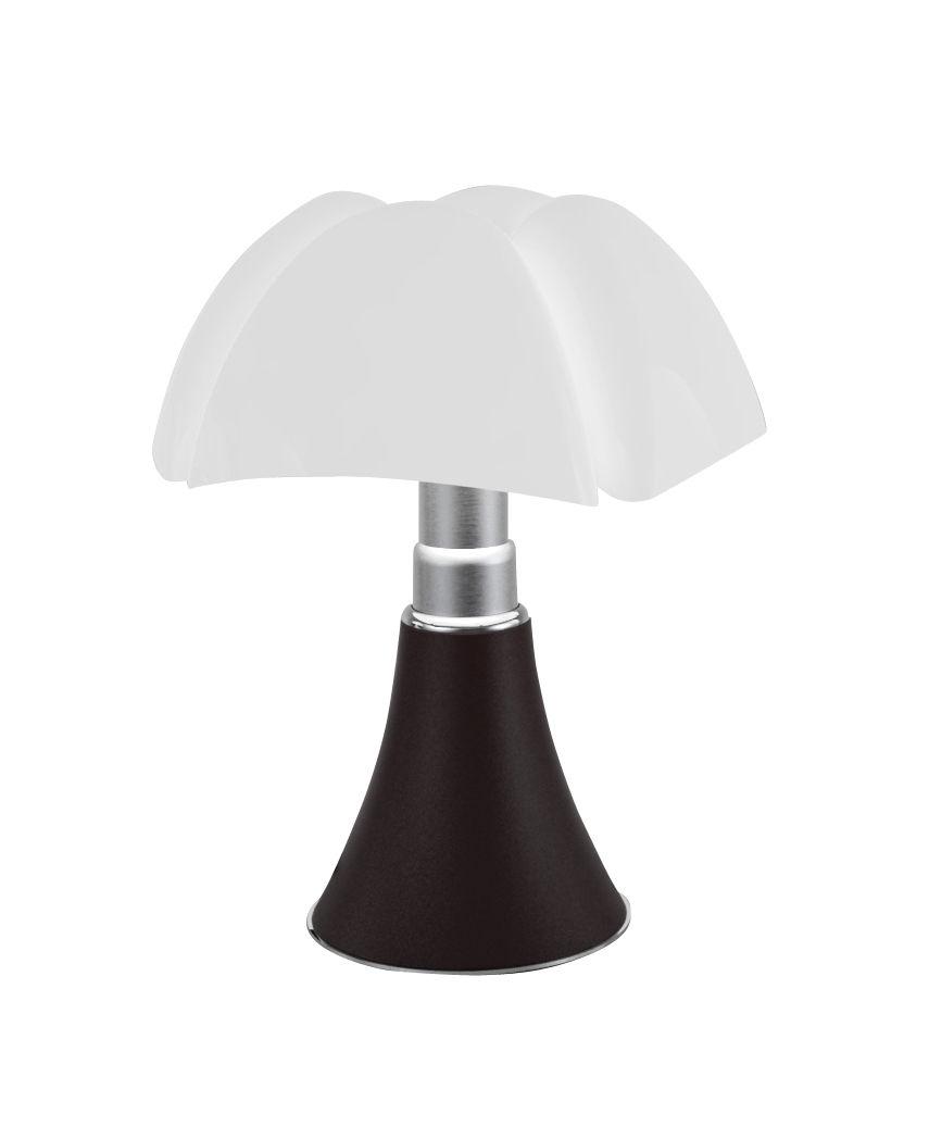 Illuminazione - Lampade da tavolo - Lampada senza fili Minipipistrello LED - / H 35 cm - Ricaricabile USB di Martinelli Luce - Marrone scuro / Paralume bianco - Acciaio galvanizzato, Alluminio laccato, Metacrilato opalino