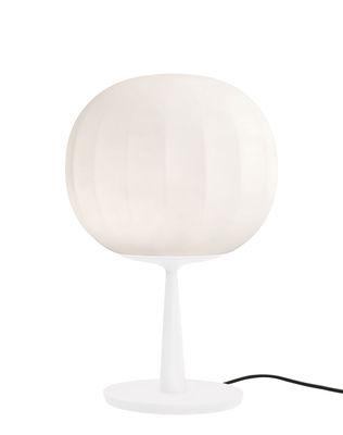 Lampe de table Lita / LED - Ø 30 cm - Luceplan blanc en métal/verre