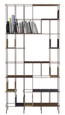 Arredamento - Scaffali e librerie - Libreria Network - / Con 5 ripiani rimovibili - L 98 x H 192 cm di Casamania - Struttura bronzo / ripiani: cioccolato - metallo verniciato, Similpelle
