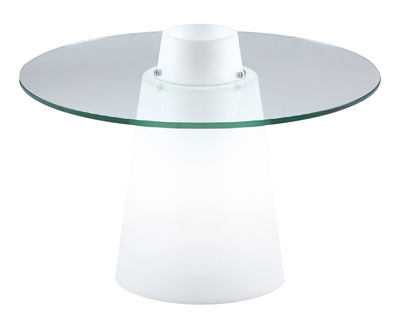 Furniture - Coffee Tables - Peak luminous coffee table by Slide - White / Transparent - Polyéthylène recyclable rotomoulé, Soak glass