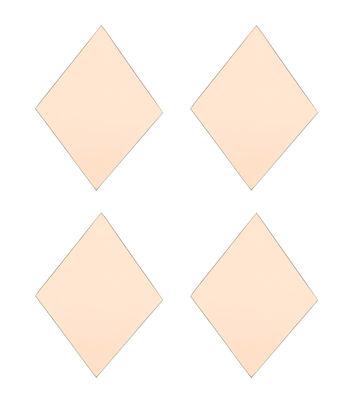 Déco - Miroirs - Miroir mural Diamond / Set de 4 - 16 x 22 cm - House Doctor - Rose - MDF, Verre
