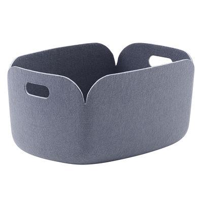 Accessoires - Accessoires bureau - Panier Restore / 35 x 48 cm - Feutre 100% recyclé - Muuto - Bleu-gris - Feutre recyclé