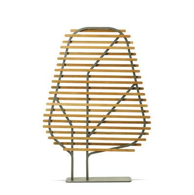 Mobilier - Paravents, séparations - Paravent Clostra / L 123 x H 175 cm - Ethimo - Teck & gris chaud - Métal laqué, Teck massif