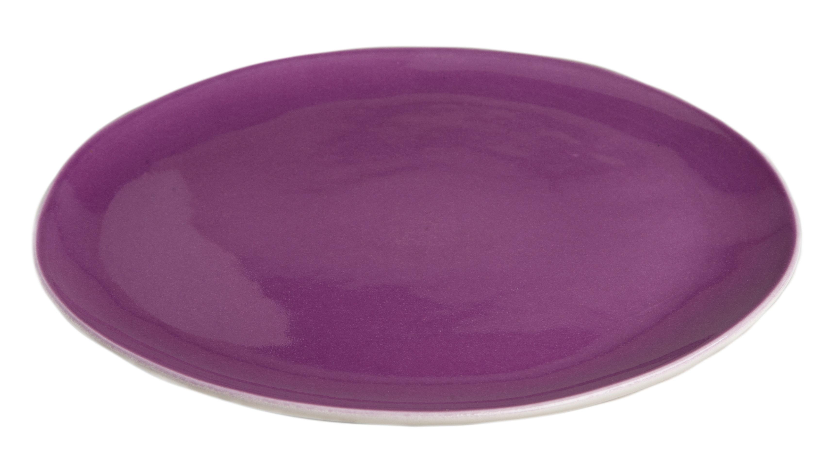 Tableware - Plates - Bazelaire Plate - Ø 26cm by Sentou Edition - Purple - Enamelled earthenware