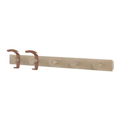 Mobilier - Portemanteaux, patères & portants - Portemanteau mural Plank / L 87,5 cm - Muuto - Chêne / Crochets marron-cuivré - Acier