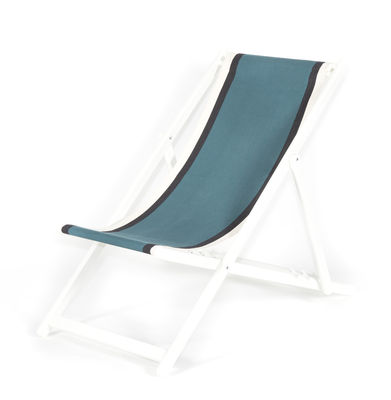 Outdoor - Sun Loungers & Hammocks - Transat Reclining chair - / Foldable & adjustable by Maison Sarah Lavoine - Sarah blue / White structure - Cotton, Lacquered wood