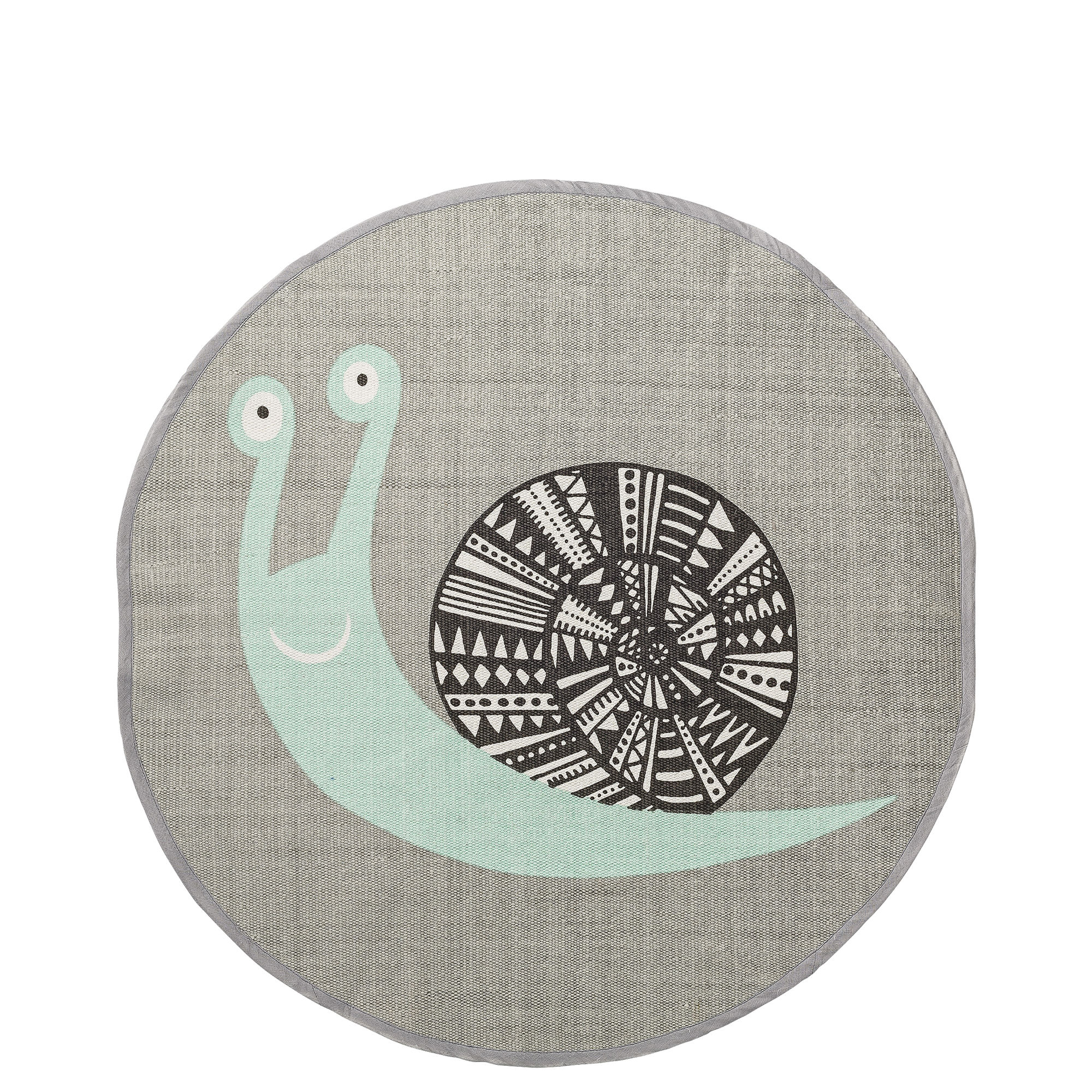 Decoration - Children's Home Accessories - Rug - Snail - Cotton - Ø 80 cm by Bloomingville - Snail / Grey & mint - Cotton