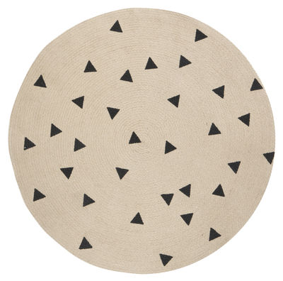 Decoration - Rugs - Triangles Rug - / Ø 100 cm by Ferm Living - Black / Triangles - Hessian