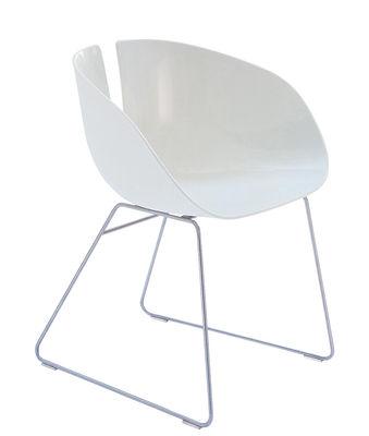 Arredamento - Sedie  - Sedia Fjord H di Moroso - Bianco / Acciaio - Inox satinato, Plastica composita