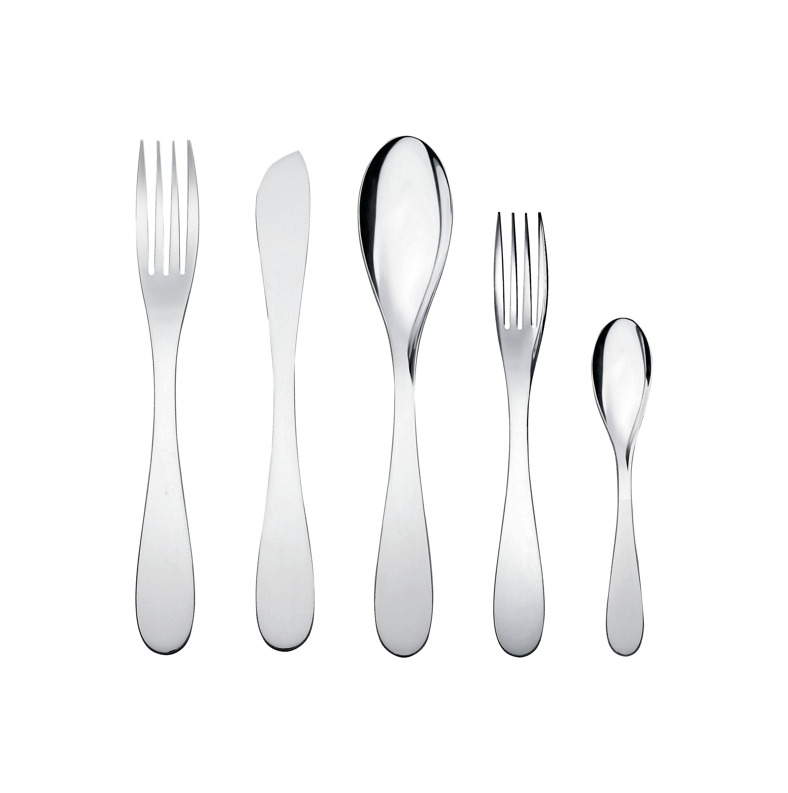 Arts de la table - Couverts de table - Set de couverts Eat.it / 1 personne - 5 pièces - Alessi - Métal brillant - Acier inoxydable 18/10