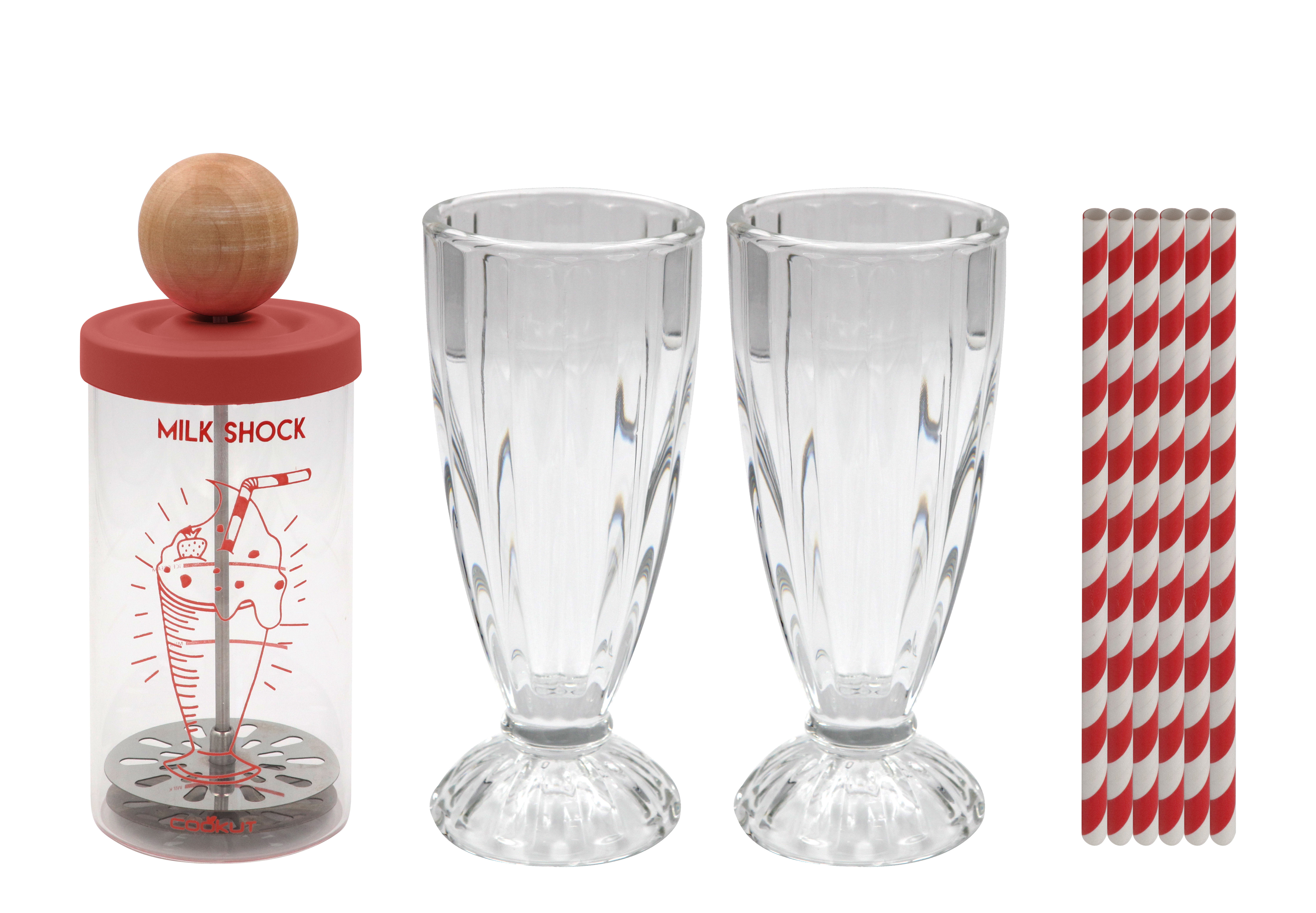 Kitchenware - Kitchen Equipment - Milkshock Shaker - / A milkshake in 30 seconds + 2 glasses & 6 straws by Cookut - Transparent / Wood & red - Glass, Metal, Silicone, Wood
