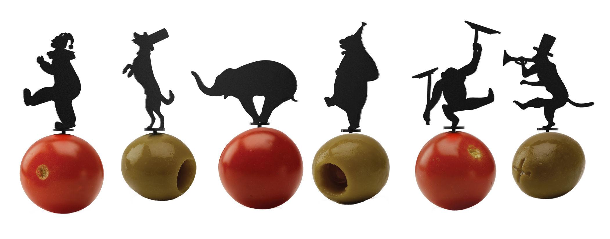 Tavola - Bar, Vino, Aperitivo - Stecchini per aperitivi Cirque - / Set da 18 di Pa Design - Nero - Materiale plastico