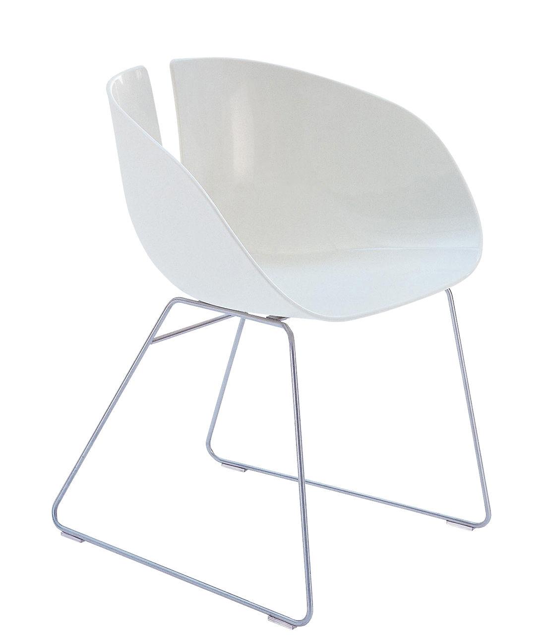 Möbel - Stühle  - Fjord H Stuhl - Moroso - Weiß / Stahl - Plastique composite, satinierter Edelstahl
