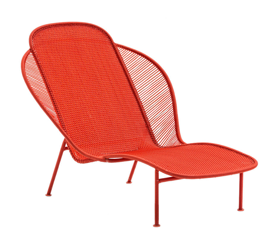 Outdoor - Sun Loungers & Hammocks - Imba Sun lounger by Moroso - Rouge - Lacquered steel, Polyéthylène tressé