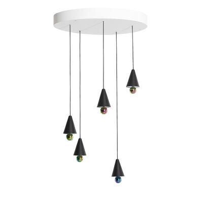 Luminaire - Suspensions - Suspension Cherry Round / LED - Ø 65cm / 5 abat-jours XS - Petite Friture - Noir / Sphère iridescente - Aluminium