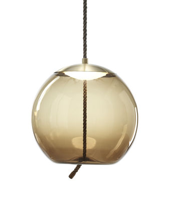 Luminaire - Suspensions - Suspension Knot sfera / Verre & corde - Ø 50 cm - Brokis - Marron / Calotte laiton - Corde naturelle, Laiton, Verre soufflé