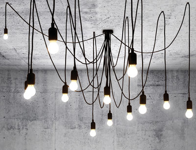 Luminaire - Suspensions - Suspension Maman Dimmable / 14 ampoules LED incluses - Compatible variateur - Seletti - Ampoules blanc satiné / Câbles noirs - Métal, Plastique, Silicone