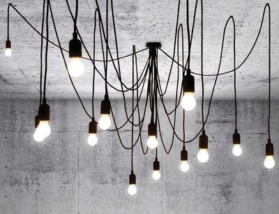 Suspension Maman Dimmable / 14 ampoules LED incluses - Compatible variateur - Seletti noir en matière plastique