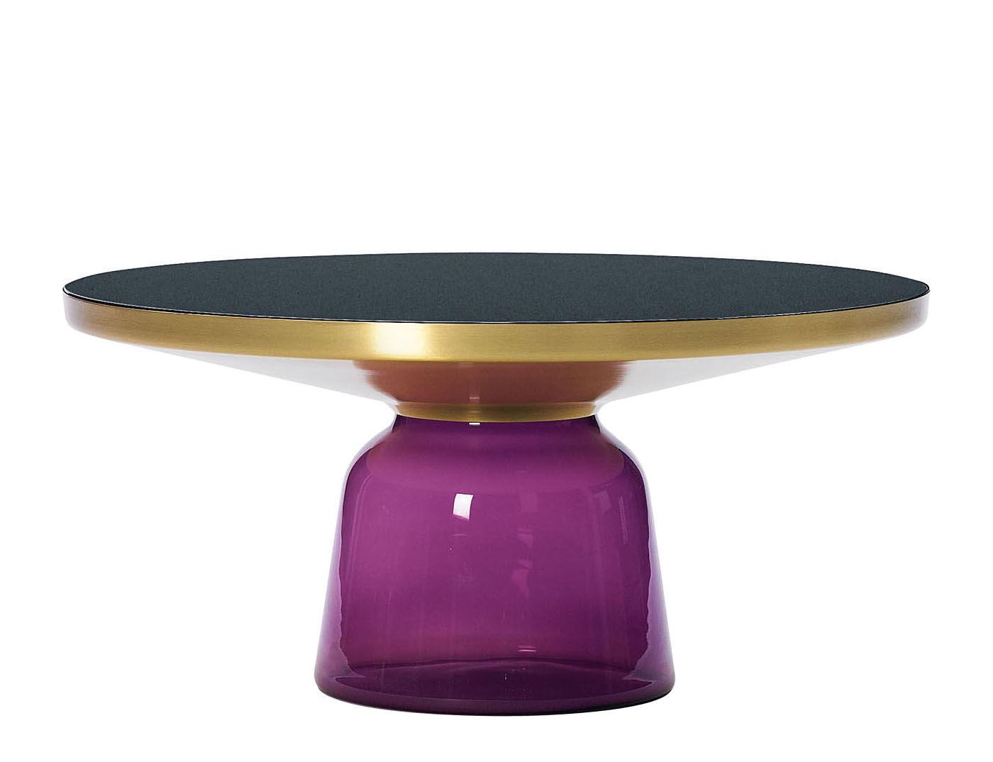 Mobilier - Tables basses - Table basse Bell Coffee / Ø 75 x H 36 cm - Plateau verre - ClassiCon - Violet améthyste / Laiton - Laiton, Verre