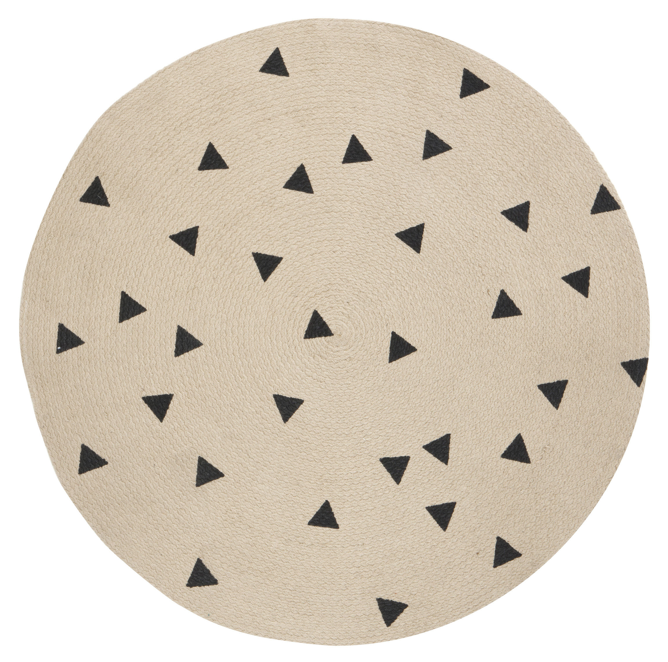 Déco - Tapis - Tapis Triangles / Ø 100 cm - Ferm Living - Noir / Triangles - Jute