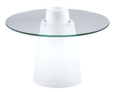 Arredamento - Tavolini  - Tavolino luminoso Peak - / Ø 70 x H 50 cm di Slide - Bianco / Top trasparente - Polietilene riciclabile a stampaggio rotazionale, Vetro temprato