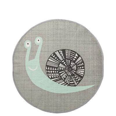 Teppich Schnecke / Baumwolle - Ø 80 cm - Bloomingville - Grau,Minzgrün