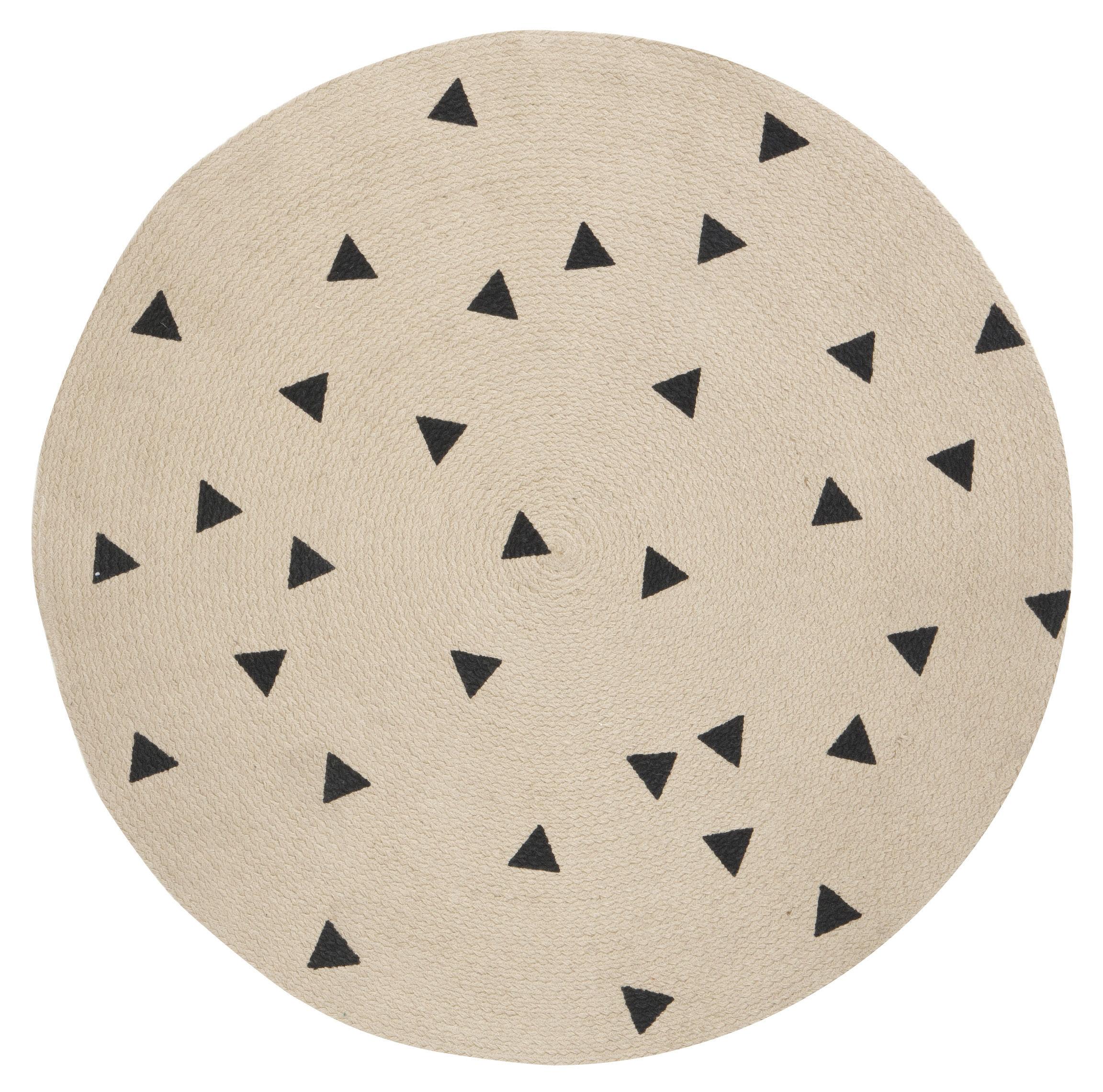 Dekoration - Teppiche - Triangles Teppich / Ø 100 cm - Ferm Living - Schwarz / Dreiecke - Jute