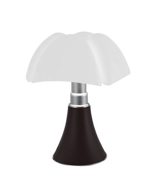 Lighting - Table Lamps - Minipipistrello LED Wireless lamp - / H 35 cm - Rechargeable by USB by Martinelli Luce - Dark brown / White lampshade - Galvanized steel, Lacquered aluminium, Opal methacrylate