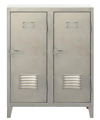 Vestiaire bas Ablage niedriger Kleiderschrank - zweitürig - Tolix - Stahl satiniert