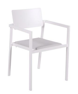 Decoration - Home Accessories - Perspective Armchair - / Aluminium - Cushion included by Vlaemynck - White - Cloth, Lacquered aluminium