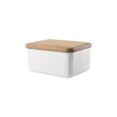 Arts de la table - Boîtes et conservation - Beurrier Legio Nova / Couvercle chêne - 12 x 10 cm - Eva Trio - Blanc & chêne - Chêne huilé, Porcelaine