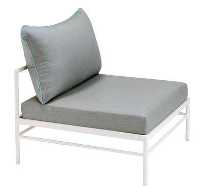 Canapé modulable Rivage / Module central - Tissu - Vlaemynck blanc,gris clair,bleu lagune en tissu