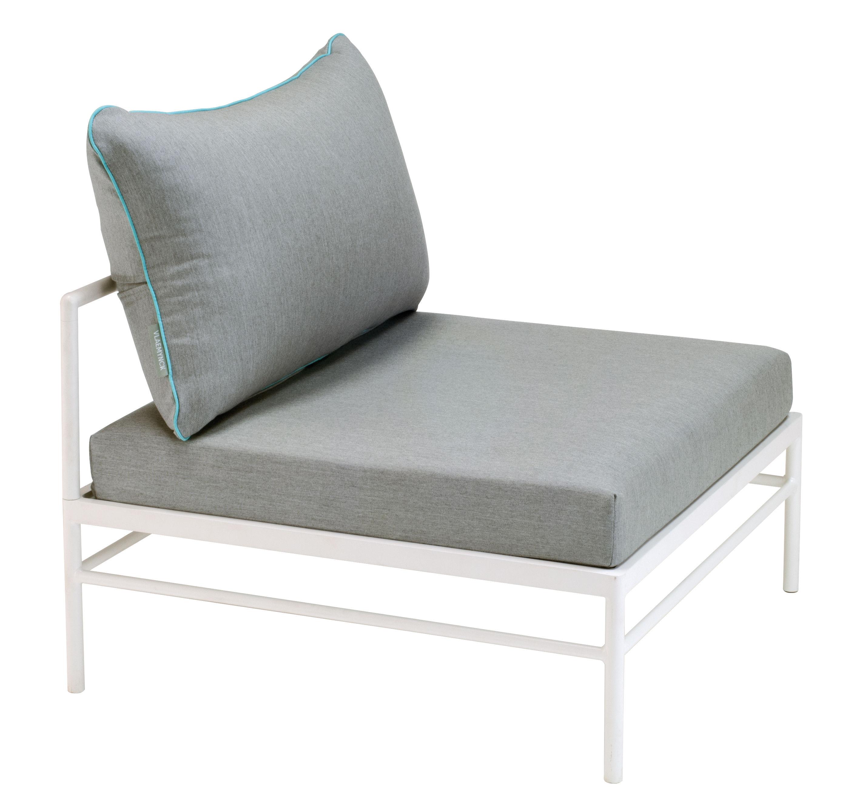Mobilier - Canapés - Canapé modulable Rivage / Module central - Tissu - Vlaemynck - Tissu gris / Blanc - Aluminium extrudé, Mousse polyuréthane, Tissu Sunbrella®