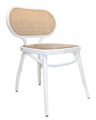 Furniture - Chairs - Bodystuhl Chair - / Wood & teak by Wiener GTV Design - White / Natural straw - Curved solid beechwood, Straw
