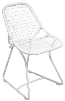 Mobilier - Chaises, fauteuils de salle à manger - Chaise Sixties / Assise souple plastique tressé - Fermob - Blanc Coton / Blanc - Aluminium, Résine polymère