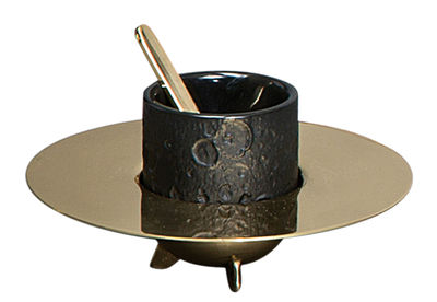 Tableware - Tea & Coffee Accessories - Cosmic Diner - Lunar Coffee service - 1 coffe cup + 1 saucer + 1 stirrer by Diesel living with Seletti - Black / Brass - Brass, Sandstone