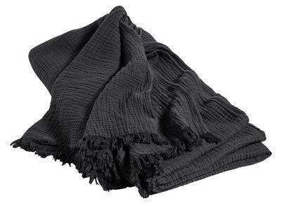 Copriletto Crinkle - / Cotone - 270 x 270 cm di Hay - Antracite - Tessuto