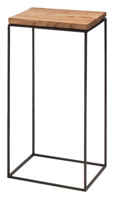 Möbel - Couchtische - Slim Irony Couchtisch / 31 x 31 x H 64 cm - Zeus - Holz natur - Stahl