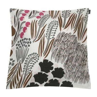 Decoration - Cushions & Poufs - Letto Cushion cover - / 50 x 50 cm - Linen by Marimekko - Letto / Off white, brown, green - Linen
