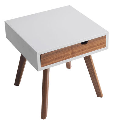 Furniture - Coffee Tables - Io e Te End table - 1 drawer by Horm - White / Walnut - Lacquered MDF, Solid walnut