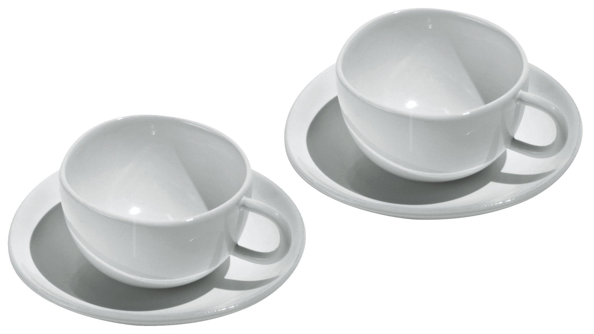 Tischkultur - Tassen und Becher - Fruit basket Espressotasse 2 Tassen mit 2 Untertassen - Alessi - Weiß - chinesisches Weich-Porzellan
